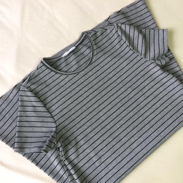 Zara TRF Striped Gray Dress