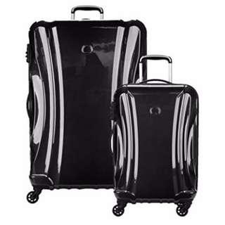 "Delsey  Suitcase Luggage Passenger Lite 2 Piece (21""/29"") 4 wheel wheeled Business Holiday Suitcase Set Black"