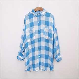 藍白格 Polo領格仔恤衫 外套