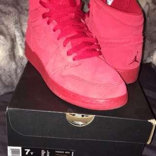 Jordan suede red 1's