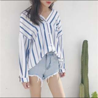 Blue Striped Outerwear