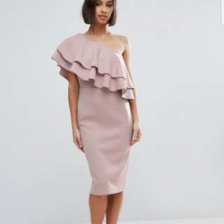 Asos one shoulder ruffle dress pink size 2
