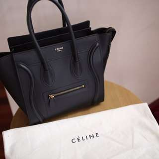 Authentic Celine Micro luggage smooth leather Black