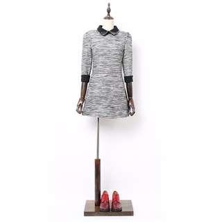 👉全新韓款👈 👗氣質✨毛呢✨釘珠✨修身七分袖✨連身裙👗