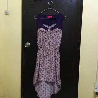 Candie's Purple High-Low Floral Dress