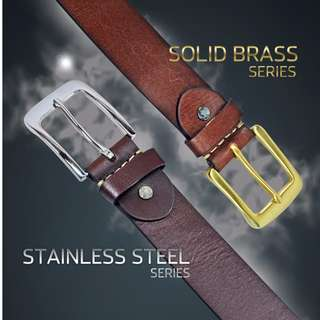 Stainless and Solid Brass Premium Leather Belt