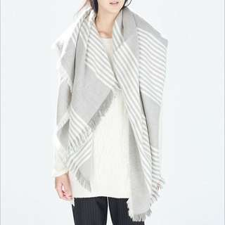 Grey Wool Oversized Scarf Shawl