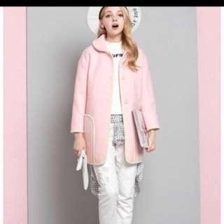 Japanese Pink Stylish Cutie Long Coat Jacket With Pockets
