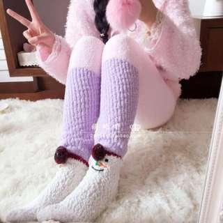 Pink-Purple Cutie Soft Fleece Stretchy Pajamas Pants