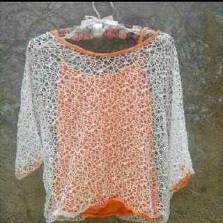 Orange crochet cover-up