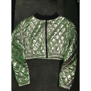 Silver and black zip-up crop jacket brand new!