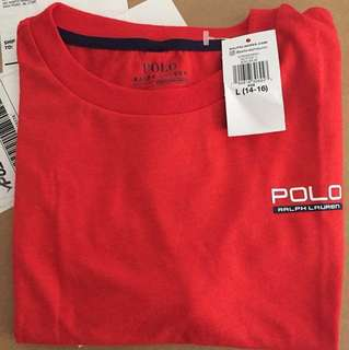 Authentic Polo Ralph performance jersey Tshirt BNWT red n grey