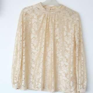 Gold Brocade Top Long Sleeve