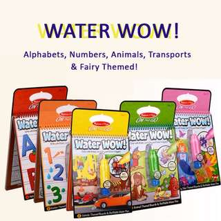 Instocks / Ready Stocks Brand New Melissa n Doug Waterwow WATER WOW Handy Portable On-the-Go Travel Water Coloring Fun Activity Book Board for Baby Toddler Kids (ABC 123 Transports Fairy Themed Princess Zoo Animals Alphabets Numbers)