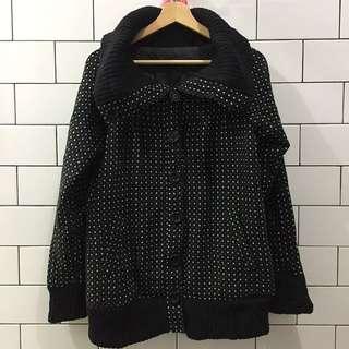 Black Polka Wool Jacket / Coat