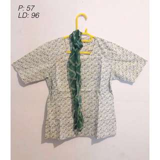 Green Blouse (FREE SCARF)