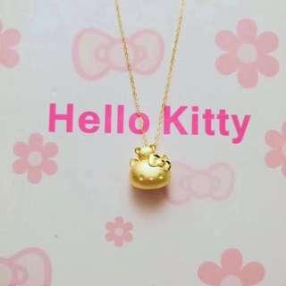 千足金Hello Kitty吊墜+18K金O字鏈