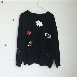 H&M patches sweater
