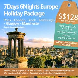 7D6N  Europe Holiday Tour Package | Paris - London - York - Edinburgh - Glasgow - Manchester Travel from Singapore (Purple Sapphire Package)