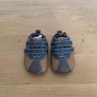 Baby Bear Boys Camel Brown with Elastic Back Shoes