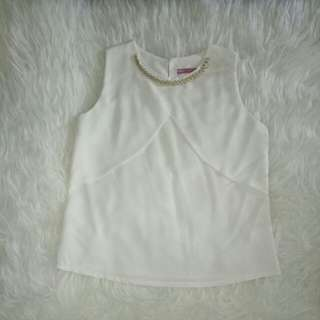 White sleevesless chain top (never wear)