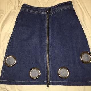ohheygirl eyelet full zip skirt