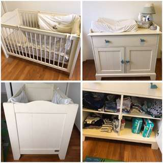 Baby cot and Chest with baby Changing table