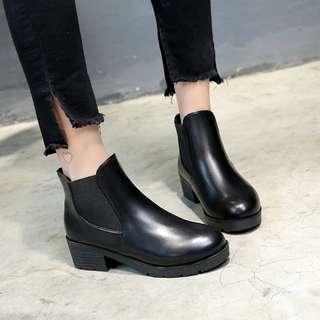 英倫風復古百搭圓頭防水皮質厚底粗跟短靴 踝靴 馬丁靴