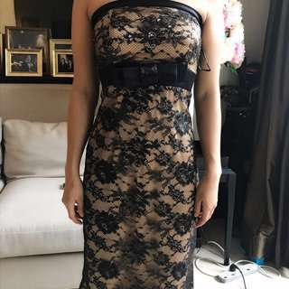 Gaun pesta / dress 7/8 black with brokat