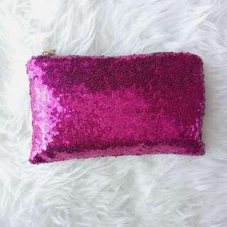 Pink Sequin Clutch