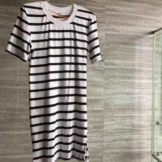 White Black Striped Tshirt Dress