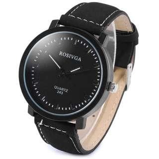 Rosviga Casual Quartz Analogue Wristwatch – Black on Black