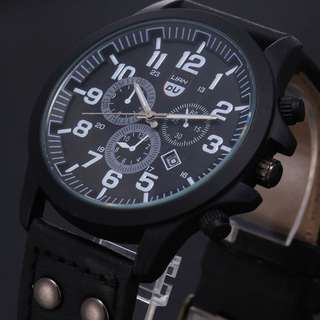 Military Leather Waterproof Date Quartz Analogue Army Men's Quartz Wrist Watches – available in Black