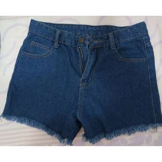 牛仔高腰短褲(M)