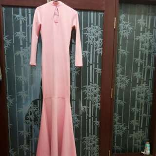 soft pink long dress