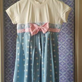 blue/white girls dress with cute pink bow