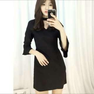 Korean black Chocker slim dress