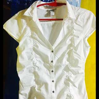 H&M White Polo Blouse