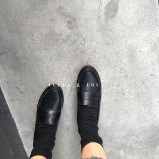 Alexa&Love 英倫復古經典黑色牛皮真皮樂福鞋低跟皮鞋(特)