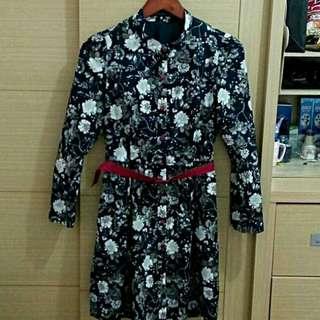 全新正版epanouir深藍色棉質大碎花紅釦腰帶長袖洋裝及膝洋裝連身洋裝36號