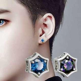 韓版925純銀藍寶石六芒星耳釘