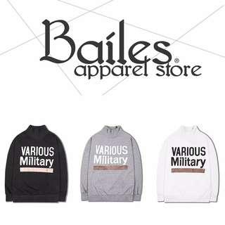 貝里斯Bailes【AS027】日韓版 / 男女款 日韓秋冬新品復古短高領字母印花搭配長袖T恤