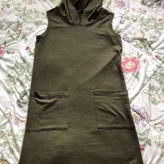 Soda Olive Green Sleeveless Sporty Dress