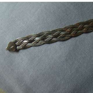 925 Sterling Silver Braided Italian Bracelet Cuff Made in Italy