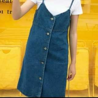 (大特價)韓版 全新品 吊帶鬚邊牛仔裙 *洋裝*類lizlisa mussa zara
