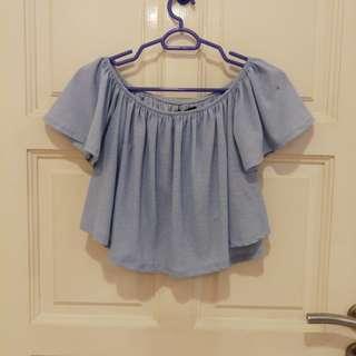 Bershka baby blue tops