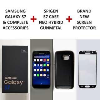 Samsung Galaxy S7 (Complete Box) + Spigen Case + Tempered Glass Screen Protector