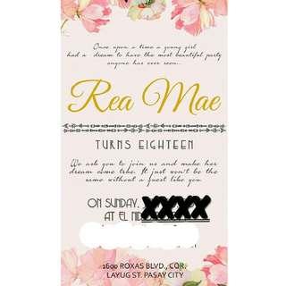 Invitation #debut #pink #floral #boho #bohemian #birthday #wedding #events #customized