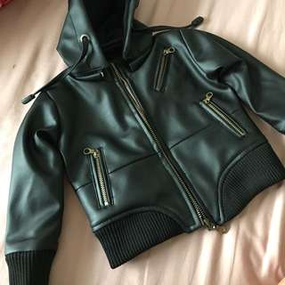 Baby Leather Jacket with Hoodie