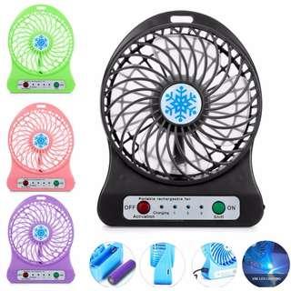 Portable Table Desk Fan Rechargeable LED Light Handy Cooling Fan